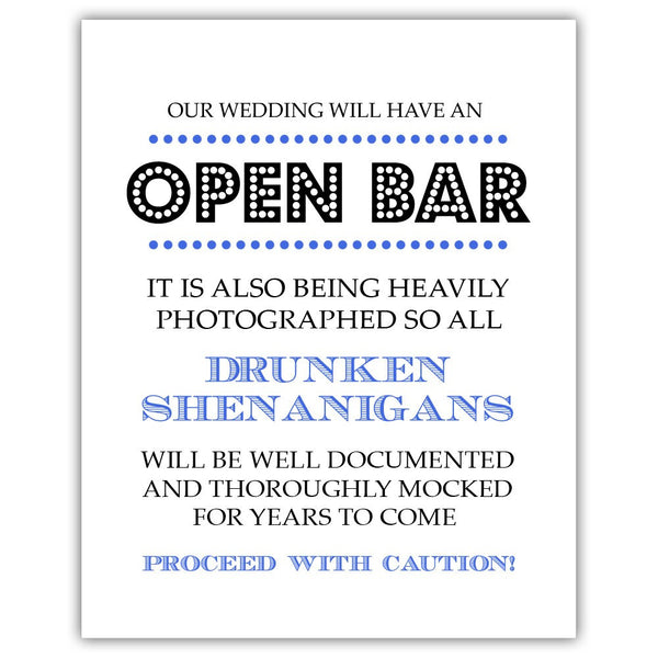 "Open bar sign - 5x7"" / Royal blue - Dazzling Daisies"