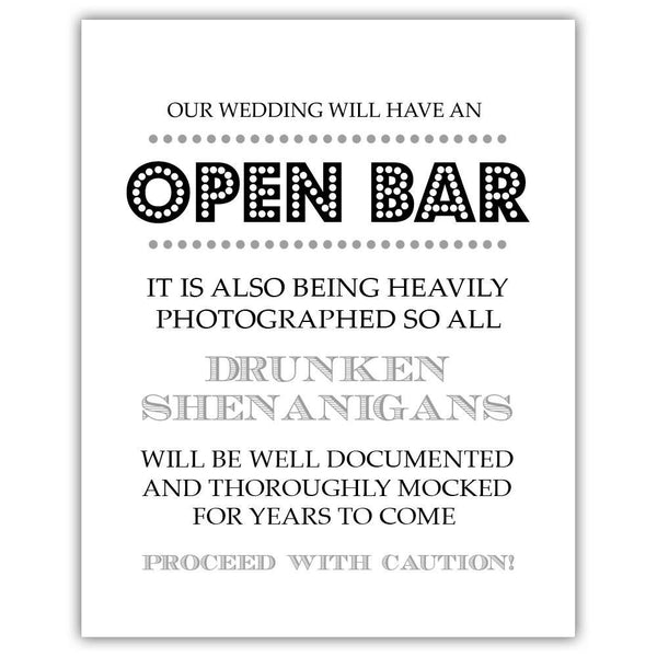 "Open bar sign - 5x7"" / Silver - Dazzling Daisies"