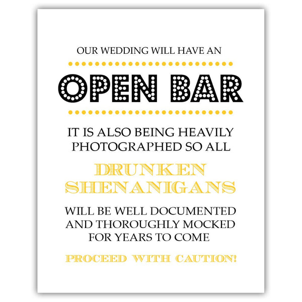 "Open bar sign - 5x7"" / Yellow - Dazzling Daisies"