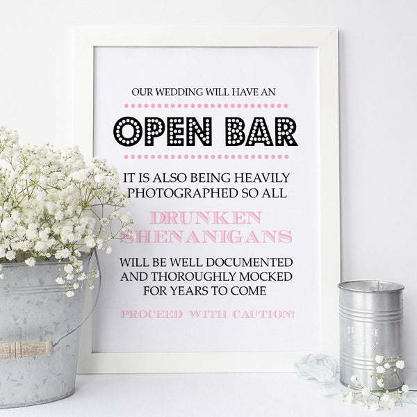 Open bar sign -  - Dazzling Daisies
