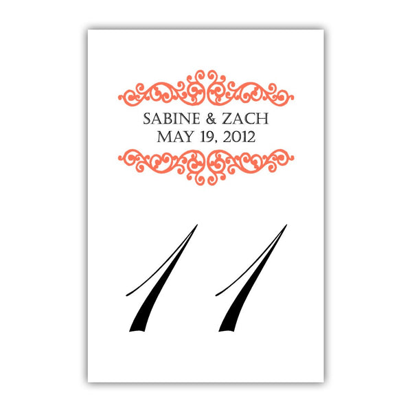 Personalized table numbers Scroll Elements - 1-6 / Coral - Dazzling Daisies