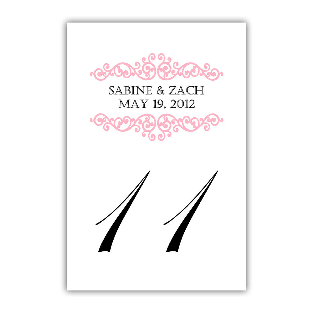 Personalized table numbers Scroll Elements - 1-6 / Black - Dazzling Daisies