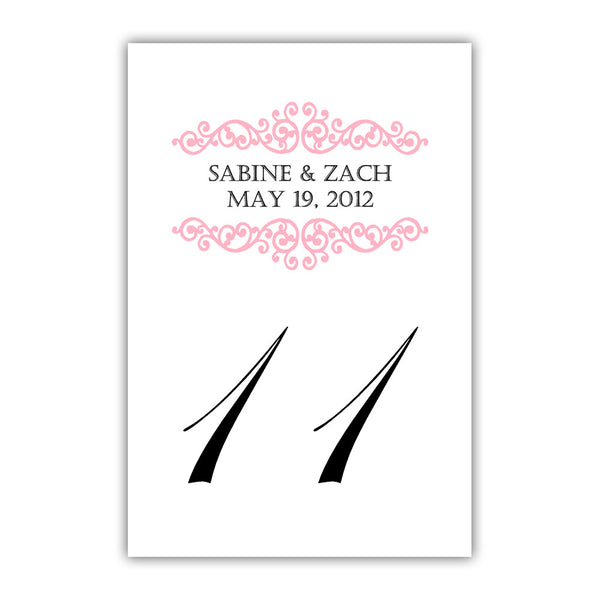 Personalized table numbers Scroll Elements - 1-6 / Pink - Dazzling Daisies
