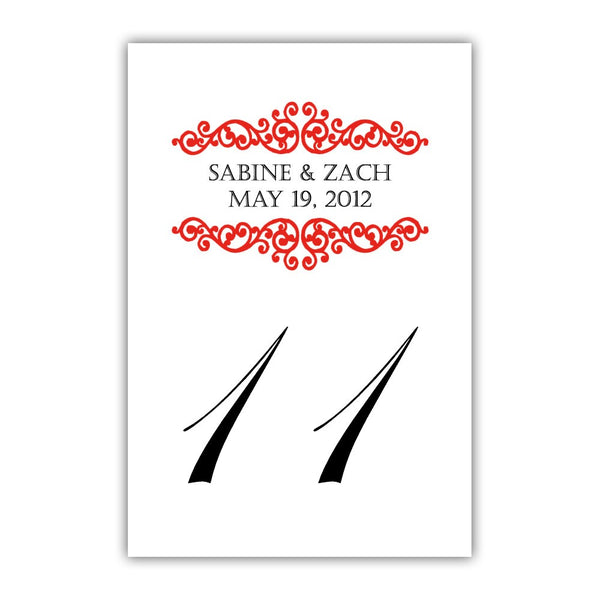 Personalized table numbers Scroll Elements - 1-6 / Red - Dazzling Daisies