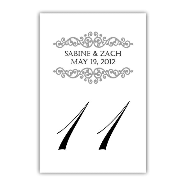 Personalized table numbers Scroll Elements - 1-6 / Silver - Dazzling Daisies