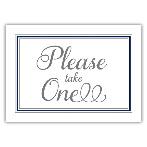 Please take one sign - Navy - Dazzling Daisies