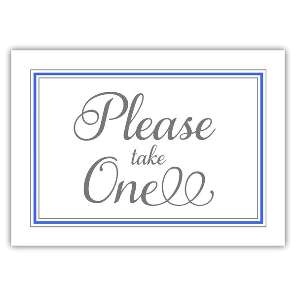 Please take one sign - Royal blue - Dazzling Daisies