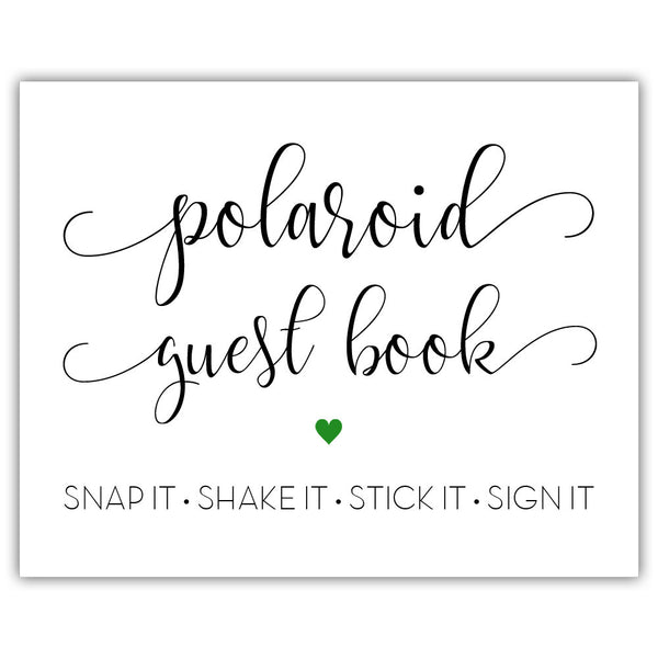 "Polaroid guest book sign - 5x7"" / Green - Dazzling Daisies"