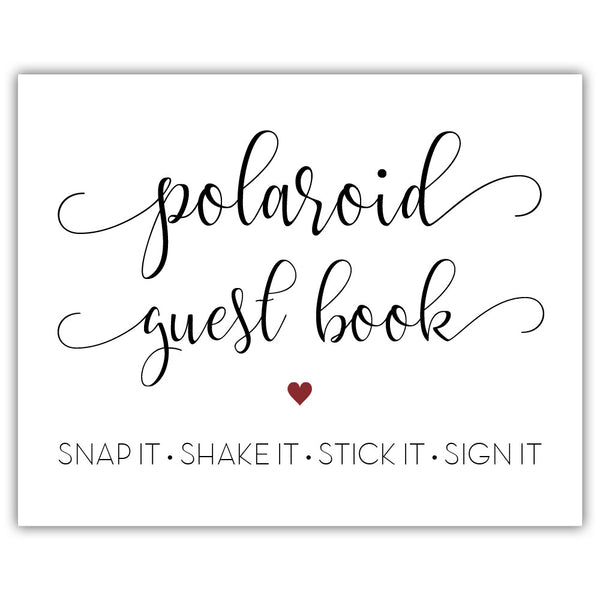 "Polaroid guest book sign - 5x7"" / Maroon - Dazzling Daisies"