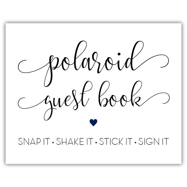 "Polaroid guest book sign - 5x7"" / Navy - Dazzling Daisies"