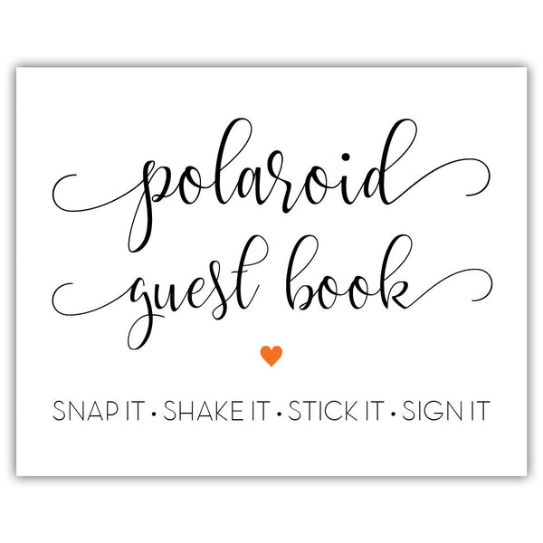 "Polaroid guest book sign - 5x7"" / Orange - Dazzling Daisies"
