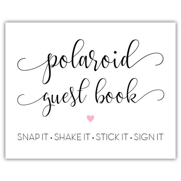 "Polaroid guest book sign - 5x7"" / Pink - Dazzling Daisies"