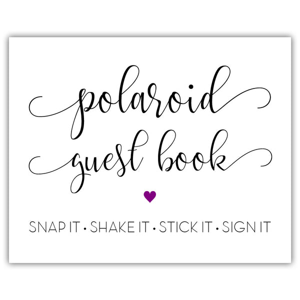 "Polaroid guest book sign - 5x7"" / Purple - Dazzling Daisies"