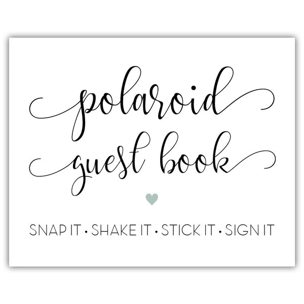"Polaroid guest book sign - 5x7"" / Sage - Dazzling Daisies"