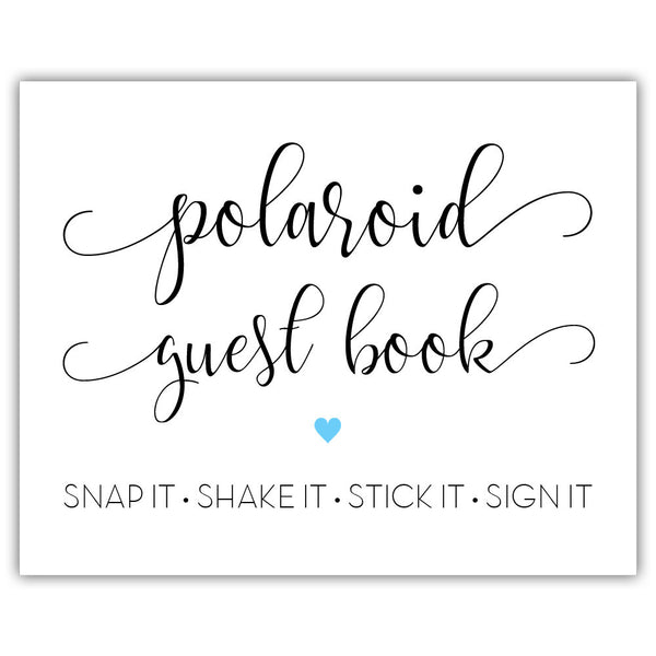 "Polaroid guest book sign - 5x7"" / Sky blue - Dazzling Daisies"