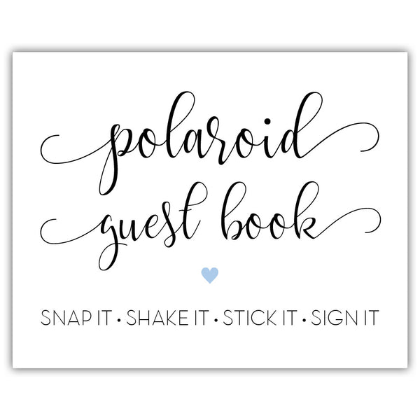 "Polaroid guest book sign - 5x7"" / Steel blue - Dazzling Daisies"