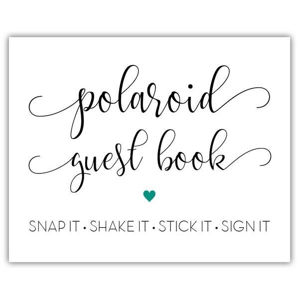 "Polaroid guest book sign - 5x7"" / Teal - Dazzling Daisies"