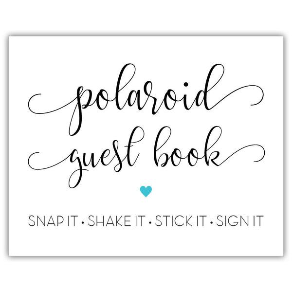 "Polaroid guest book sign - 5x7"" / Turquoise - Dazzling Daisies"