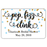 Mini champagne bottle labels 'Pop Fizz Clink' - Gold/Sky blue - Dazzling Daisies