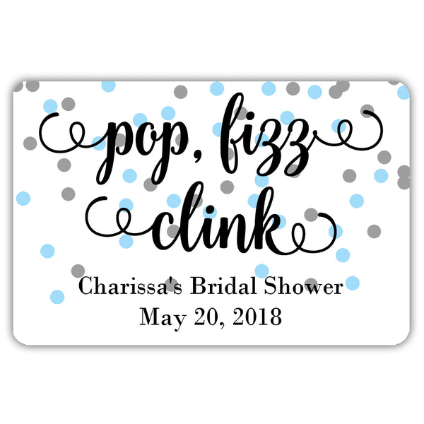 Mini champagne bottle labels 'Pop Fizz Clink' - Silver/Sky blue - Dazzling Daisies