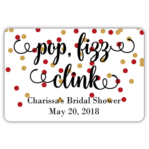 Mini champagne bottle labels 'Pop Fizz Clink' - Gold/Indian red - Dazzling Daisies