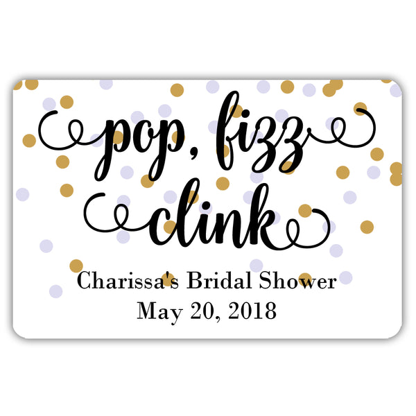 Mini champagne bottle labels 'Pop Fizz Clink' - Gold/Lavender - Dazzling Daisies
