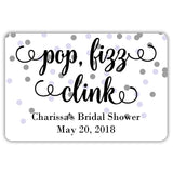 Mini champagne bottle labels 'Pop Fizz Clink' - Silver/Lavender - Dazzling Daisies