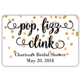 Mini champagne bottle labels 'Pop Fizz Clink' - Gold/Peach - Dazzling Daisies