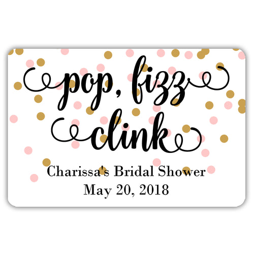 Mini champagne bottle labels 'Pop Fizz Clink' - Gold/Pink - Dazzling Daisies