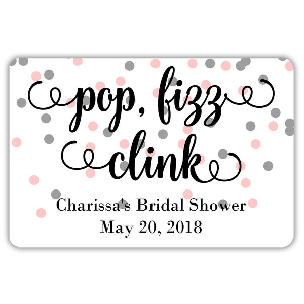 Mini champagne bottle labels 'Pop Fizz Clink' - Silver/Pink - Dazzling Daisies