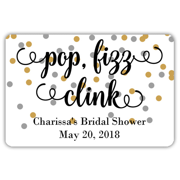 Mini champagne bottle labels 'Pop Fizz Clink' - Gold/Silver - Dazzling Daisies