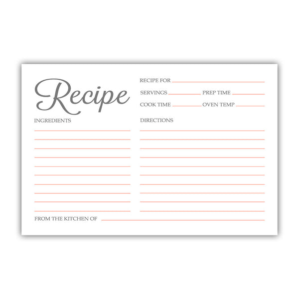 Recipe cards 'Basic Elegance' - Coral - Dazzling Daisies