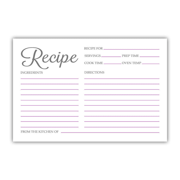 Recipe cards 'Basic Elegance' - Purple - Dazzling Daisies