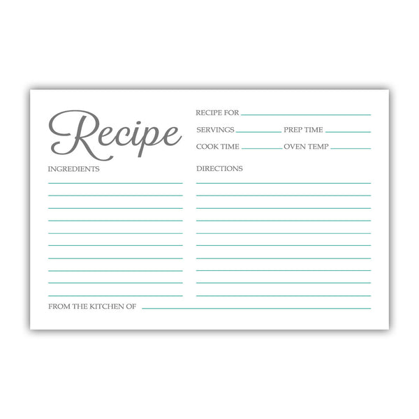Recipe cards 'Basic Elegance' - Teal - Dazzling Daisies