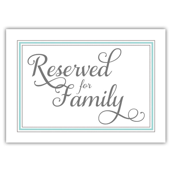 Reserved for family sign 'Elevated Elegance' - Aquamarine - Dazzling Daisies