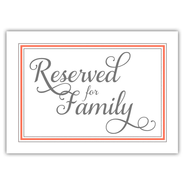 Reserved for family sign 'Elevated Elegance' - Coral - Dazzling Daisies