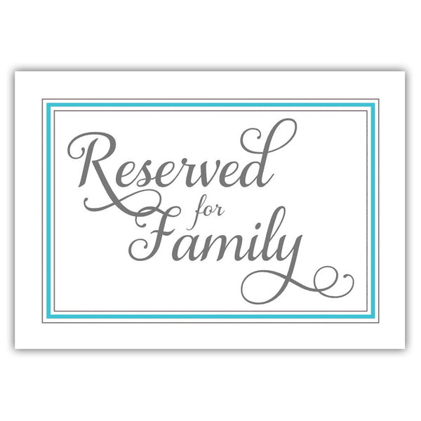 Reserved for family sign 'Elevated Elegance' - Turquoise - Dazzling Daisies