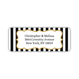 Return address labels 'Striped Elegance' - Black - Dazzling Daisies