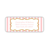 Return address labels 'Striped Elegance' - Blush - Dazzling Daisies