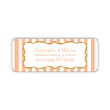 Return address labels 'Striped Elegance' - Peach - Dazzling Daisies