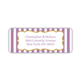 Return address labels 'Striped Elegance' - Plum - Dazzling Daisies