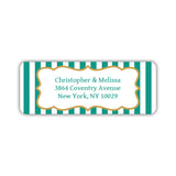 Return address labels 'Striped Elegance' - Teal - Dazzling Daisies