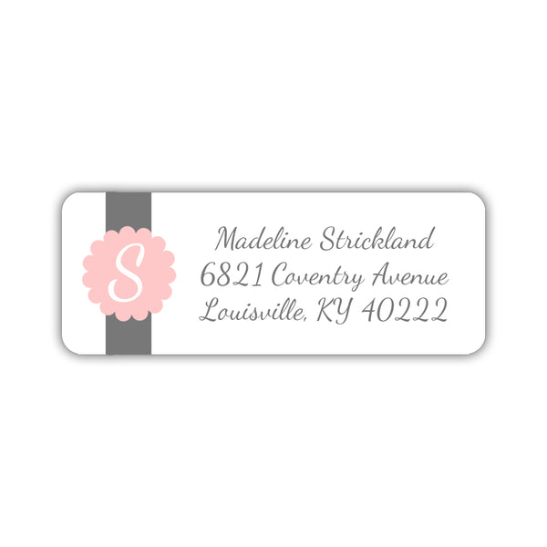 Return address labels 'Cigar Band' - Blush - Dazzling Daisies