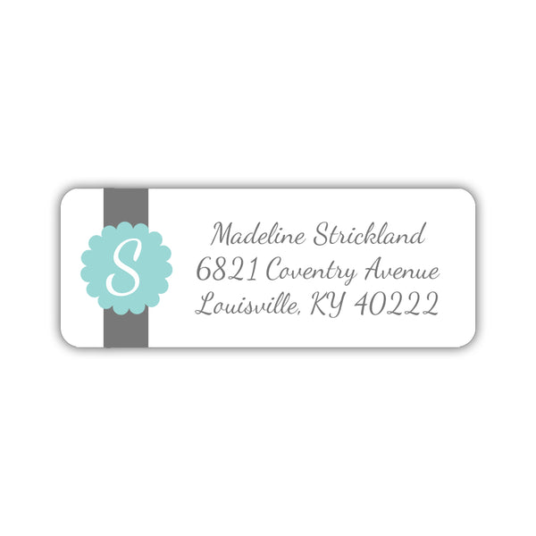 Return address labels 'Cigar Band' - Aquamarine - Dazzling Daisies