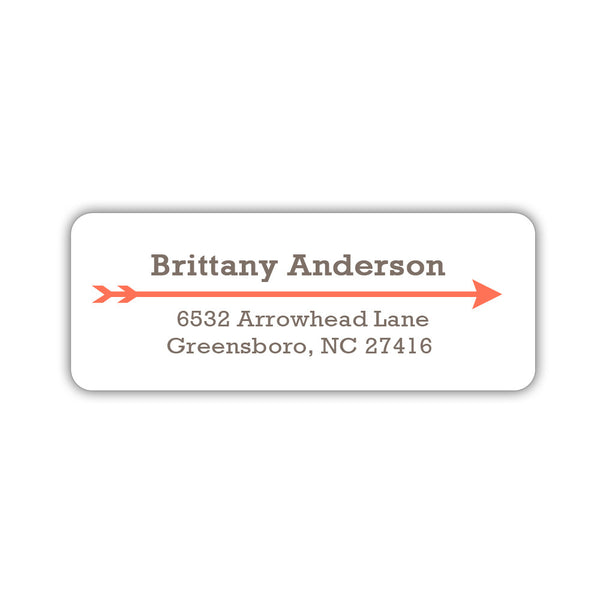Return address labels 'Modern Arrow' - Coral - Dazzling Daisies