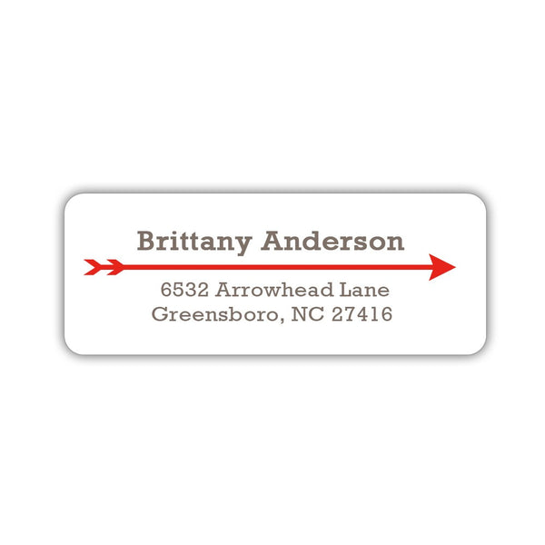 Return address labels 'Modern Arrow' - Red - Dazzling Daisies