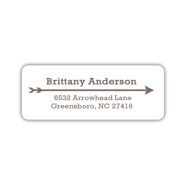 Return address labels 'Modern Arrow' - Taupe - Dazzling Daisies