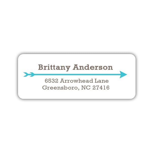 Return address labels 'Modern Arrow' - Turquoise - Dazzling Daisies