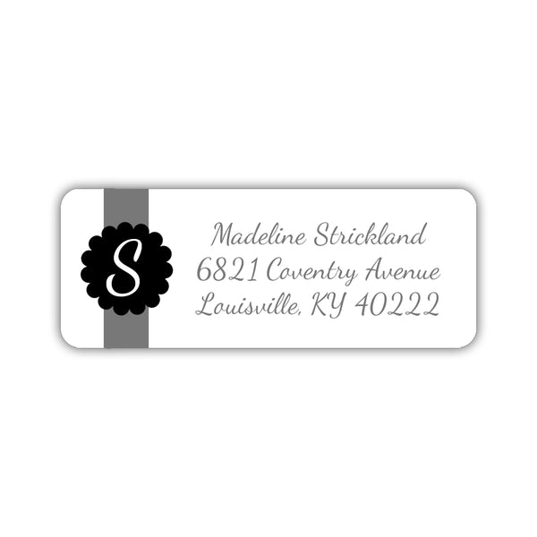 Return address labels 'Cigar Band' - Black - Dazzling Daisies