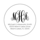 Round monogram return address labels - Black - Dazzling Daisies